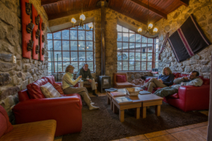 Resting in the living room at Wayra Lodge