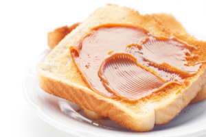 toast with caramel isolated on white